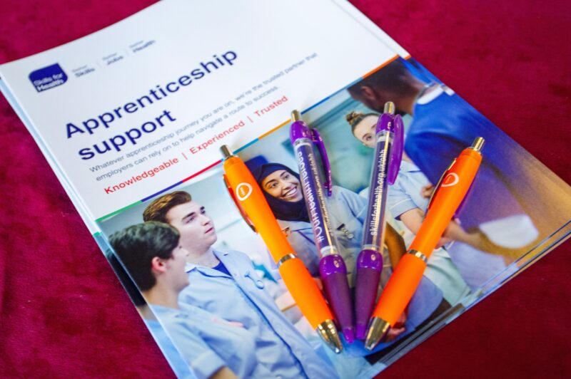Apprenticeship support booklet with pens